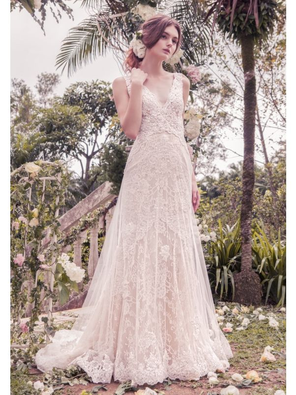 Heavily Beaded Lace Wedding Dress