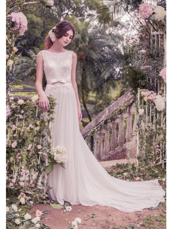 Chiffon Wedding Dress With Low Back