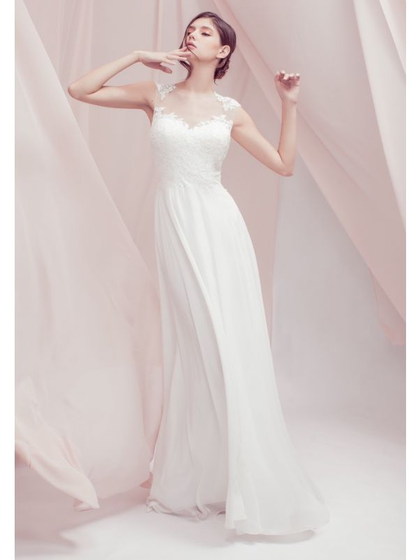 Embroidered Chiffon Wedding Dress