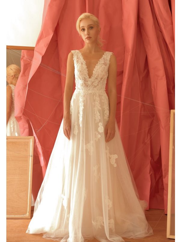 Embroidered Tulle Wedding Dress With Low Back