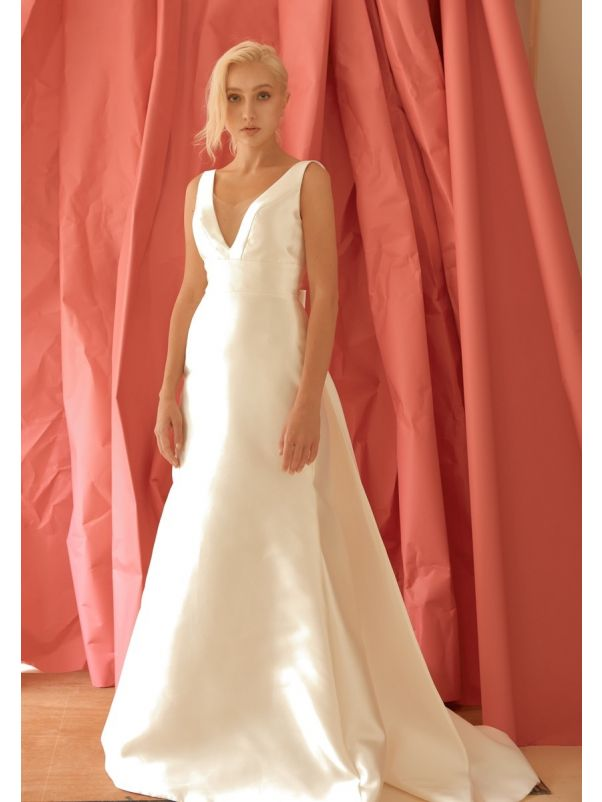 Mikado Wedding Dress With Open Back