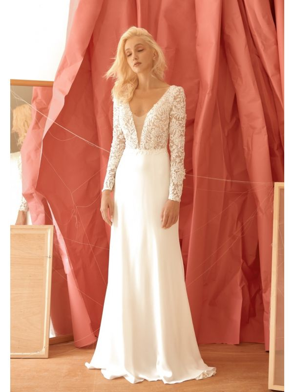 Beaded Long Sleeves Crepe Wedding Dress