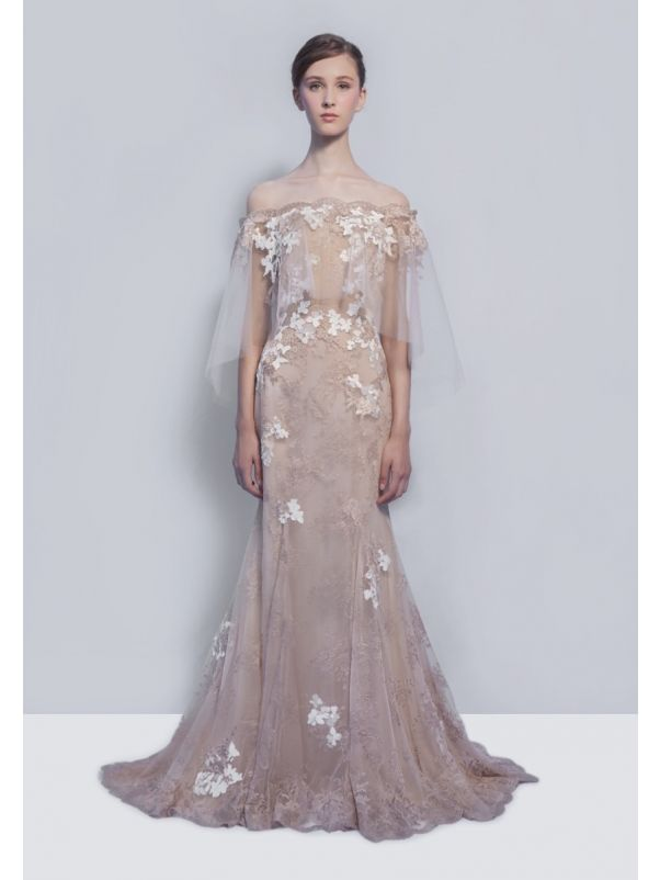 Embroidered Floral Lace Gown