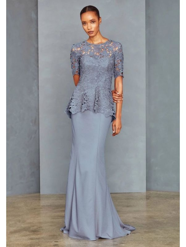 Embroidered Crepe Gown With Low Back