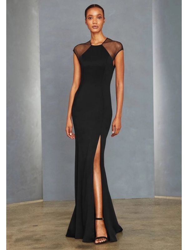 Black Crepe Gown With Keyhole Back
