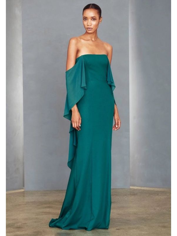 Crepe Evening Gown With Chiffon Cape