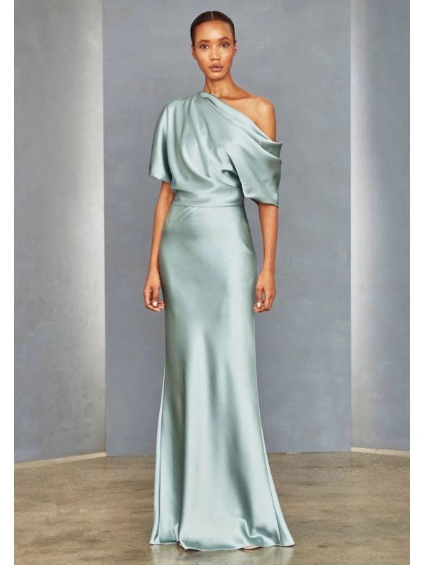 Draped One-Shoulder Sheath Gown