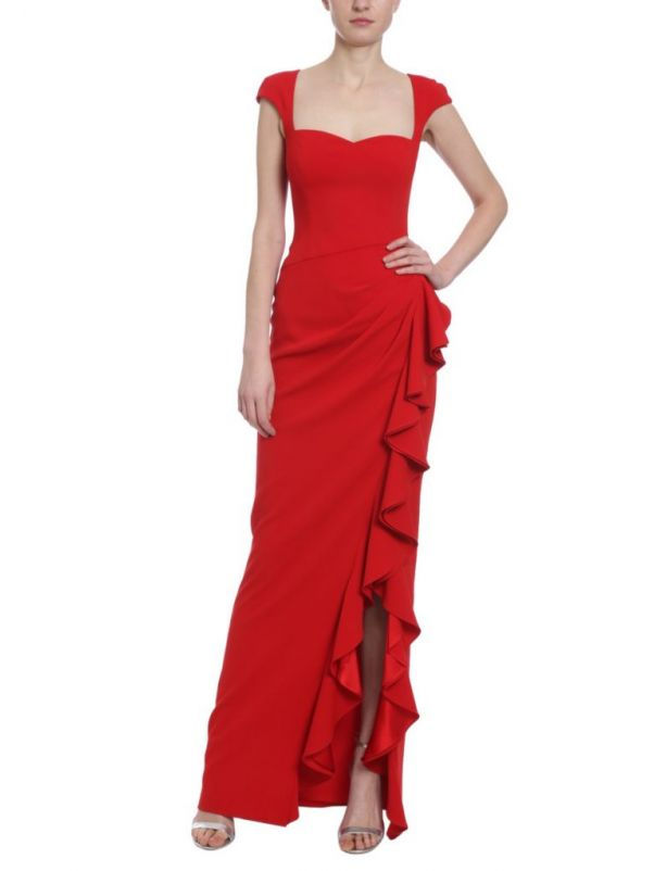 Ruffle Slit Gown