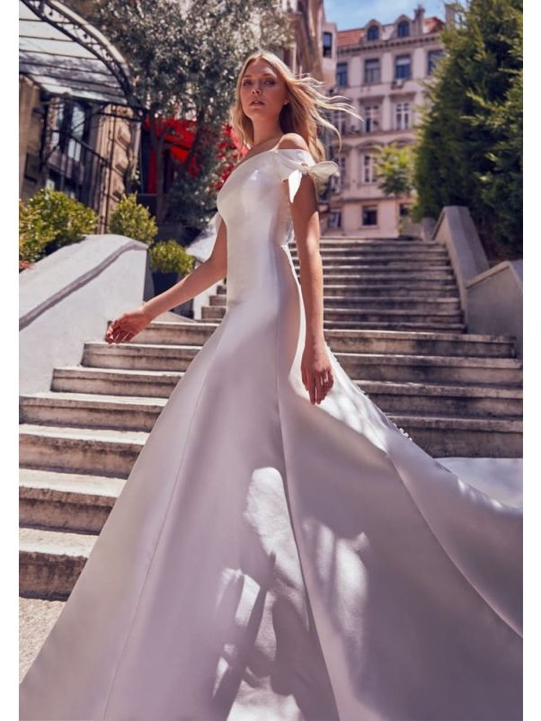 Bow Sleeves Mikado Wedding Dress