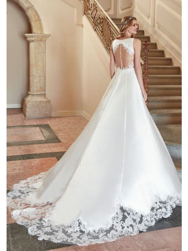 Mikado Wedding Dress With Sheer Back
