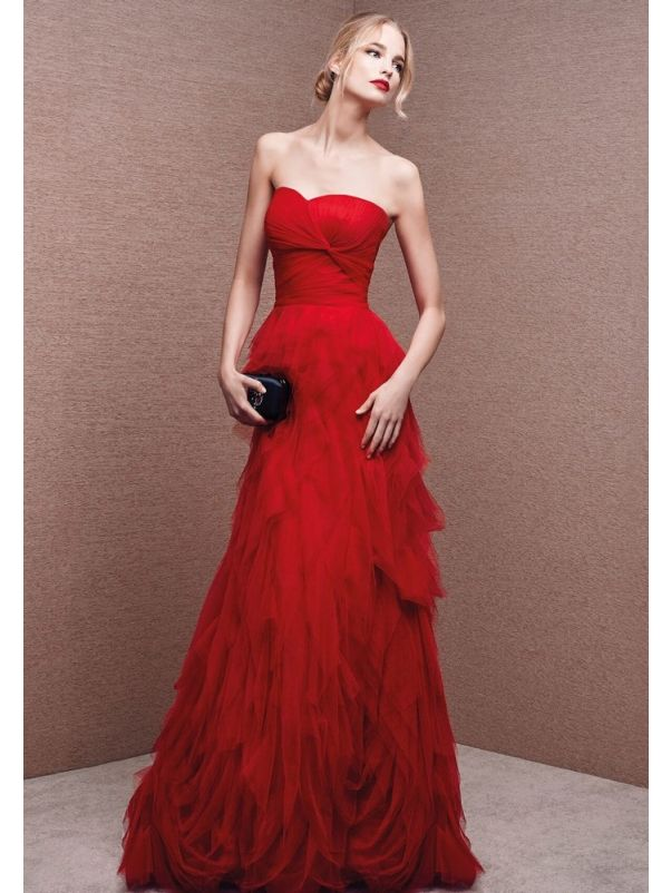 Red Tulle Ruffle Evening Dress