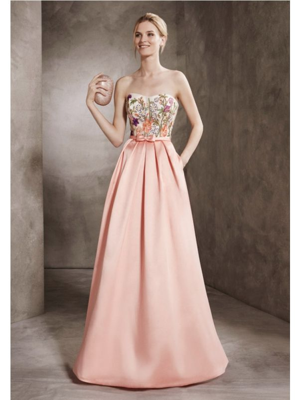 Embroidered Flower Mikado Gown