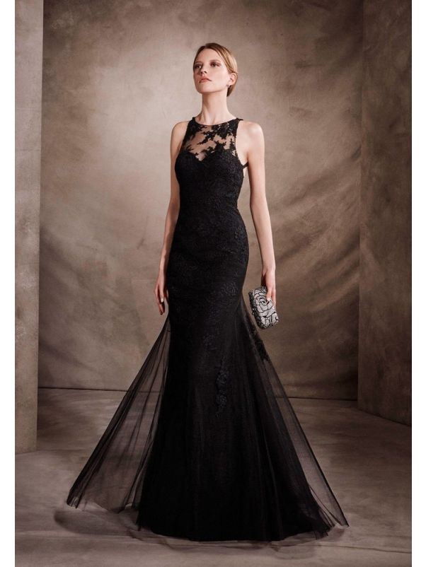 Embroidered Lace Evening Gown