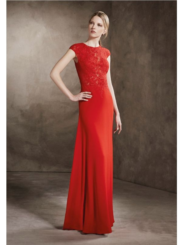 Embroidered Red Crepe Gown