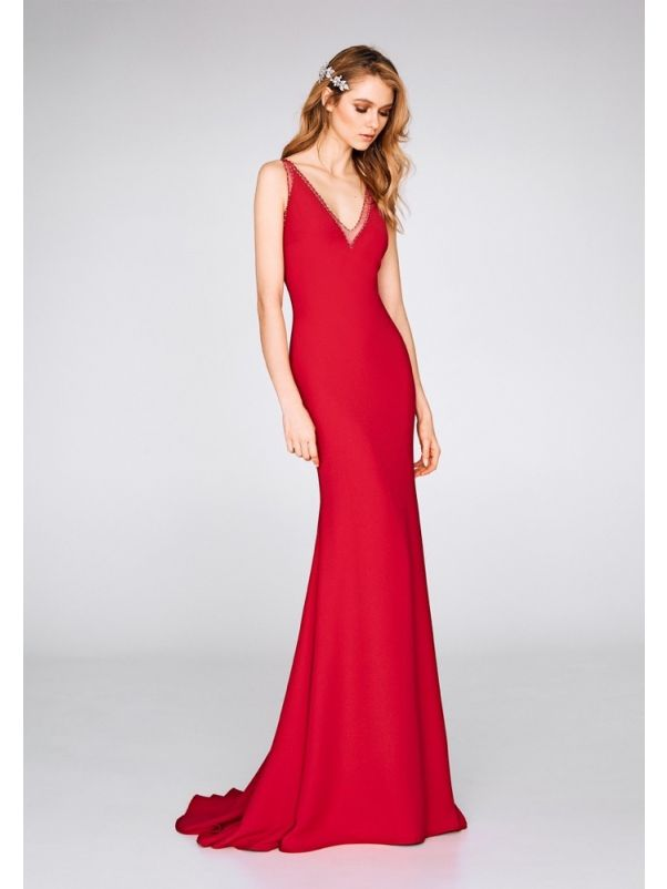Beaded Red Crepe Gown