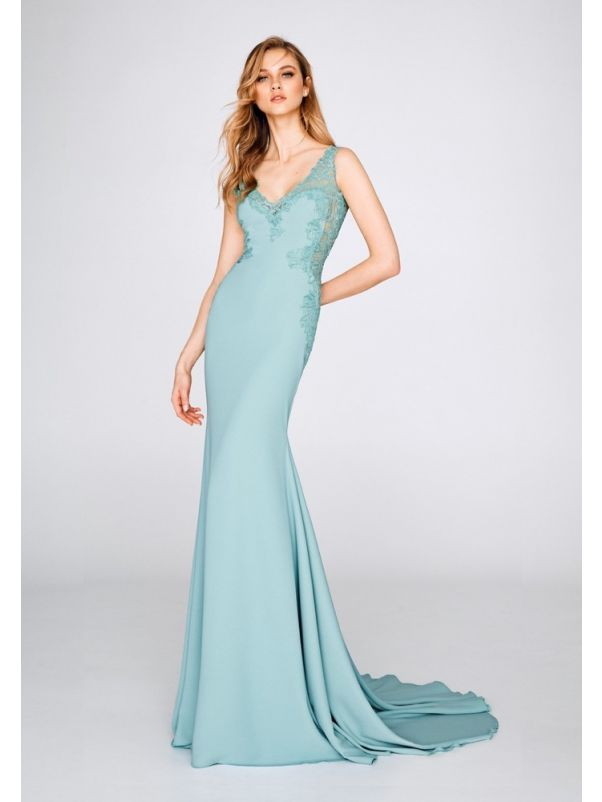 Embroidered Mermaid Crepe Gown