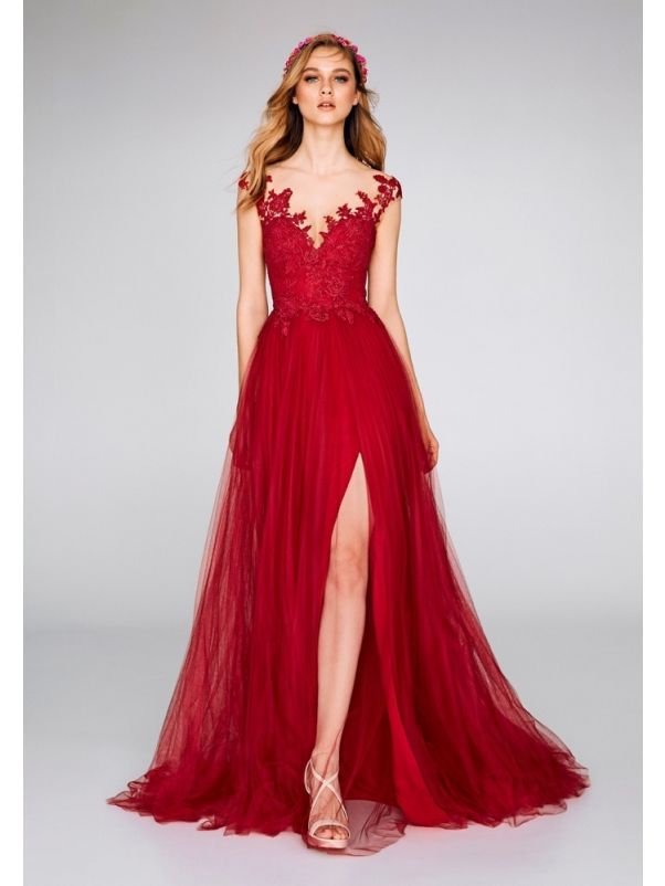 Embroidered Tulle Slit Gown