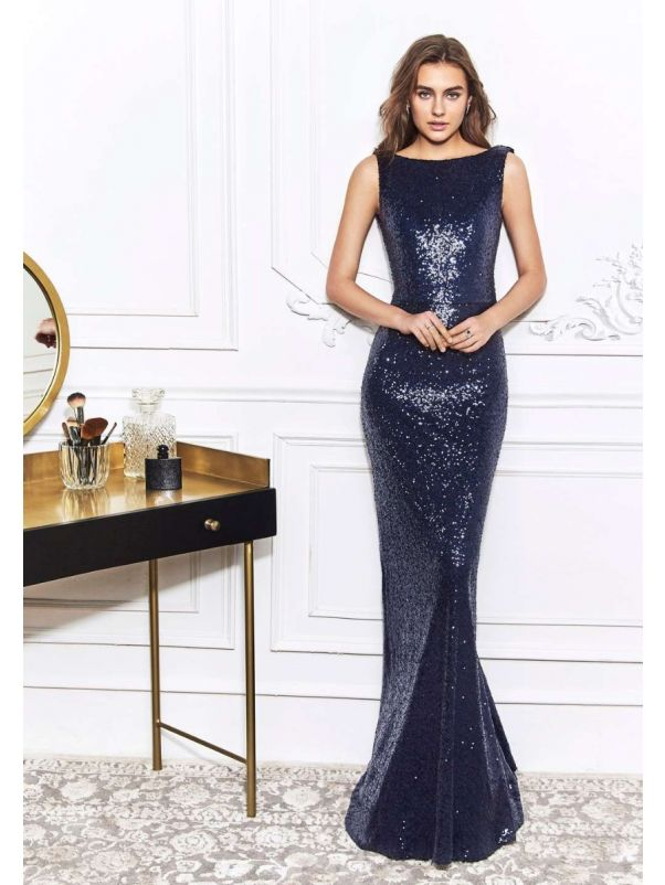 Navy Blue Sequined Gown with Draped Back
