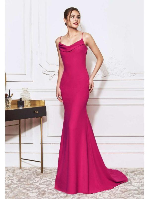 Hot Pink Sensual Draped Mermaid Crepe Gown
