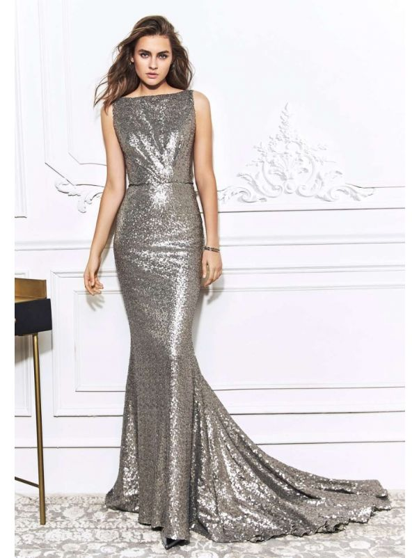 Silver Sequined Mermaid Gown