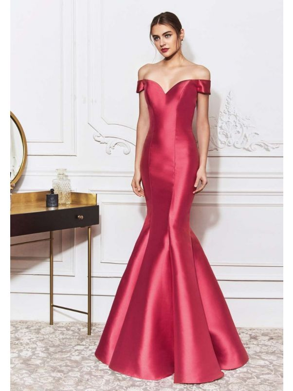 Feminine Red Mikado Mermaid Evening Dress