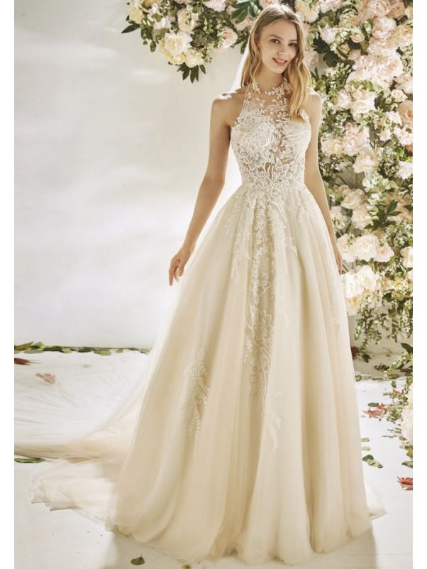 Embroidered Flowers Tulle Ball Gown