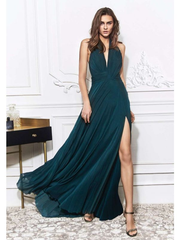 Flowing Draped Slit Gown