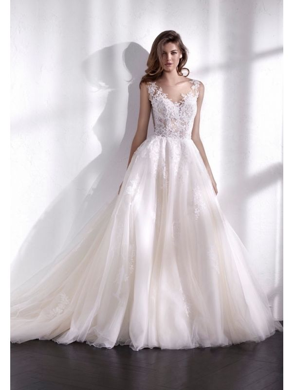 Embroidered Tulle Ball Gown With Low Back