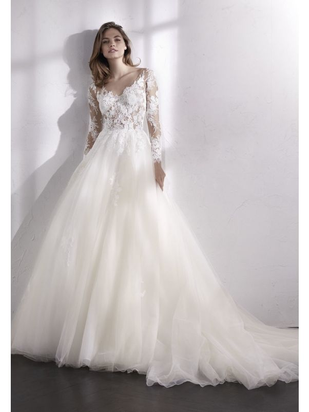 Floral Lace Tulle Ball Gown