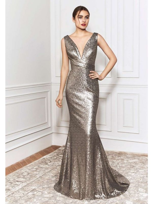 Metallic Gold Sequined Mermaid Gown