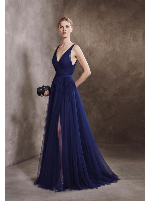 Draped Soft Tulle Gown