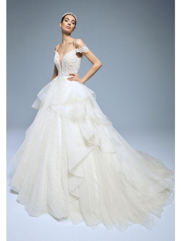Embroidered Ruffle Wedding Dress