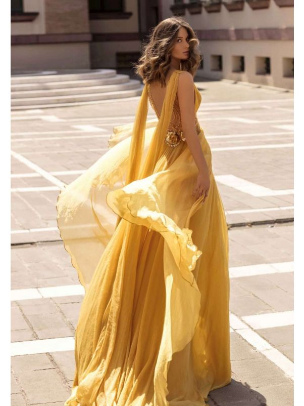 Flowing Draped Gown with Beaded Back