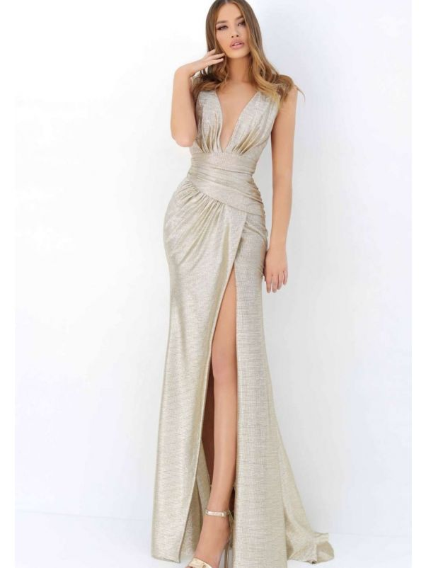 Metallic Sensual Slit Gown