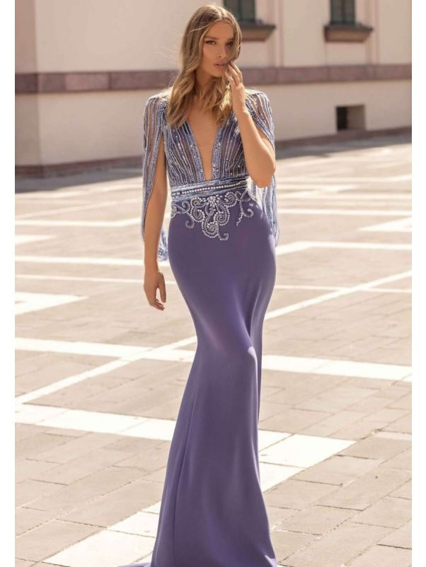 Heavily Beaded Purple Mermaid Evening Gown