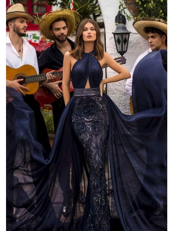 Beaded Navy Blue Draped Evening Dress