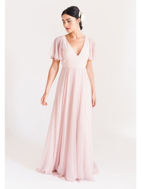 Chiffon Bridesmaid Dress With Ruffle Sleeves