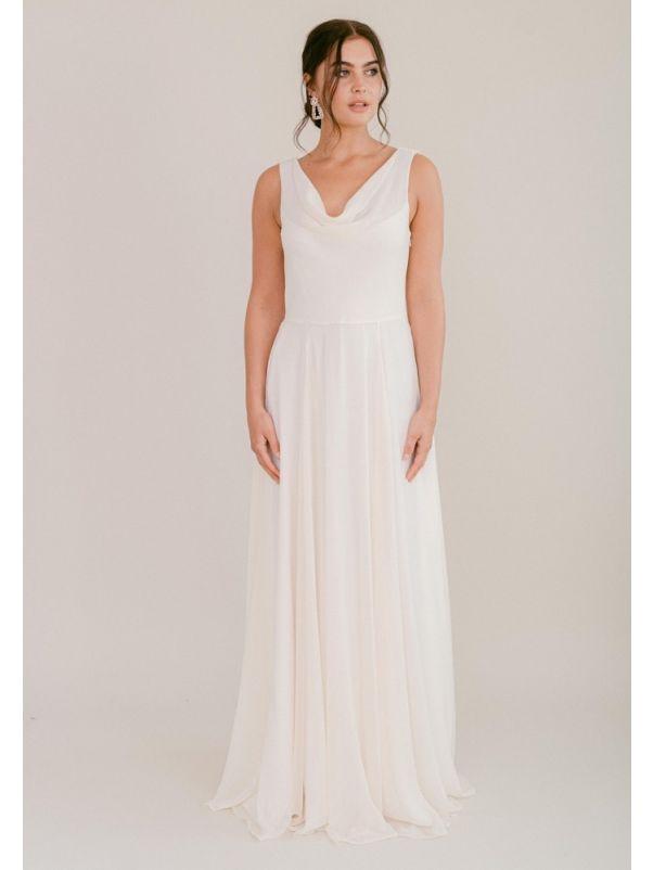 Chiffon Wedding Dress With Draped Back