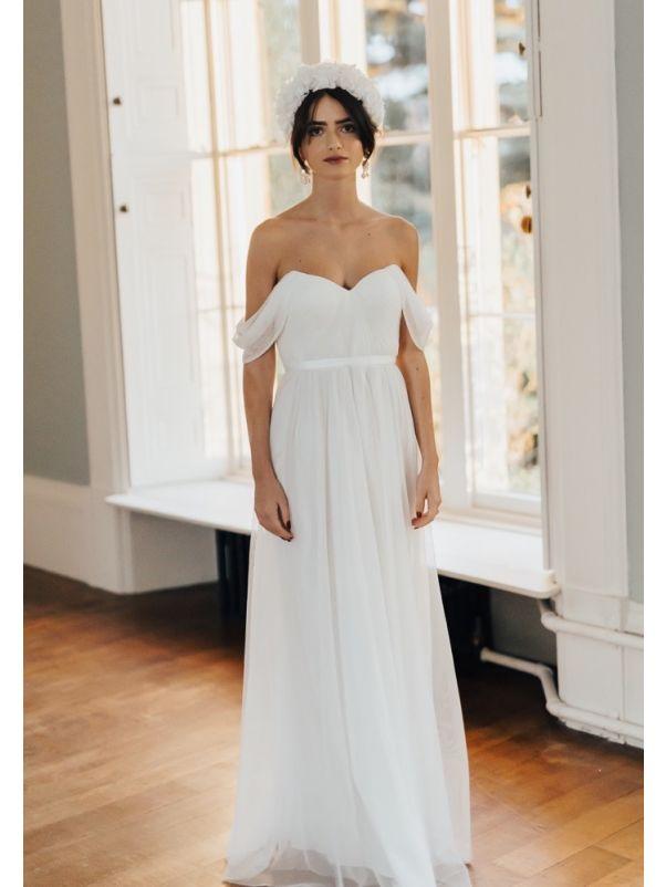 Draped Soft Tulle Wedding Dress