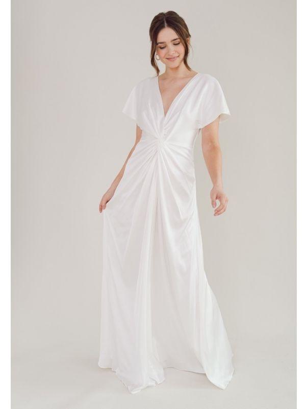 Draped Soft Satin Wedding Dress