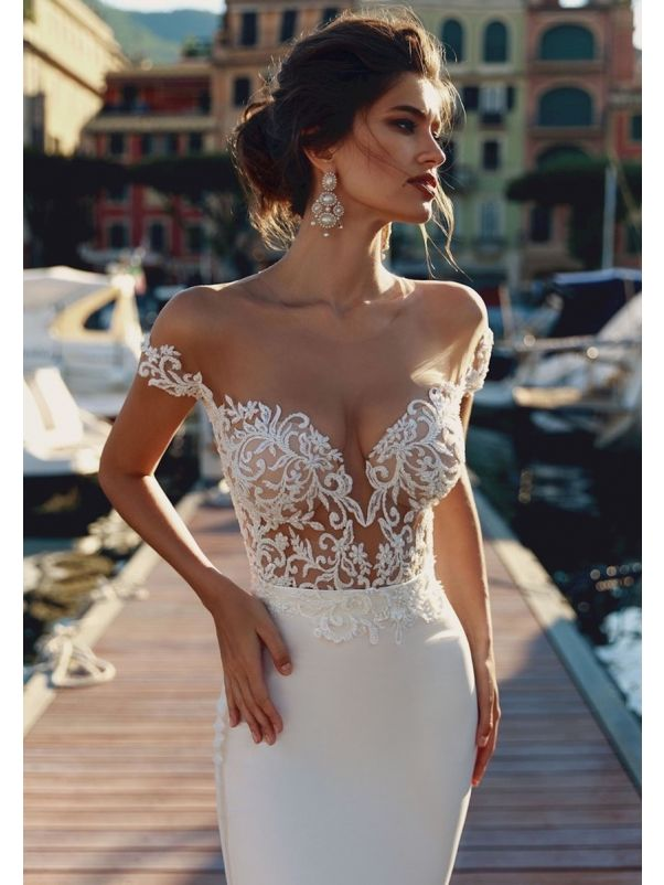 Beaded Tattoo-Effect Crepe Wedding Dress