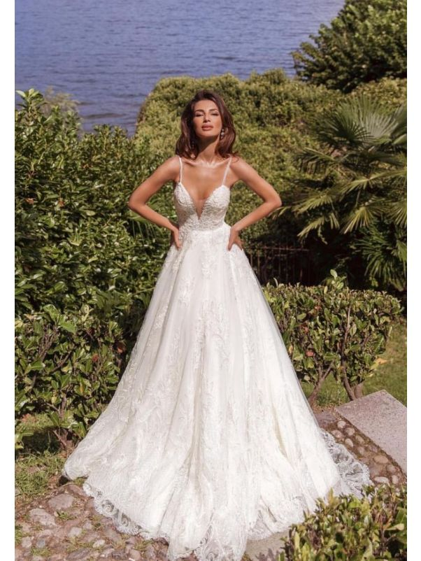 Embroidered Princess Wedding Dress With Straps