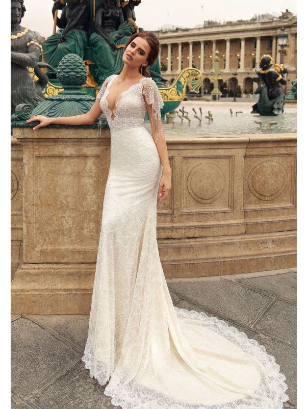 Fully Beaded Wedding Dress With Cap Sleeves
