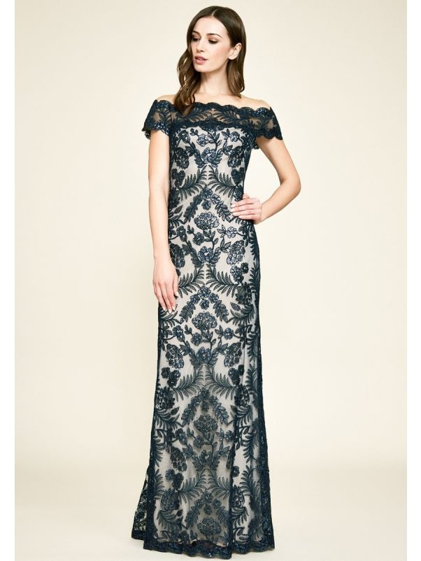Sequined Embroidery Evening Gown
