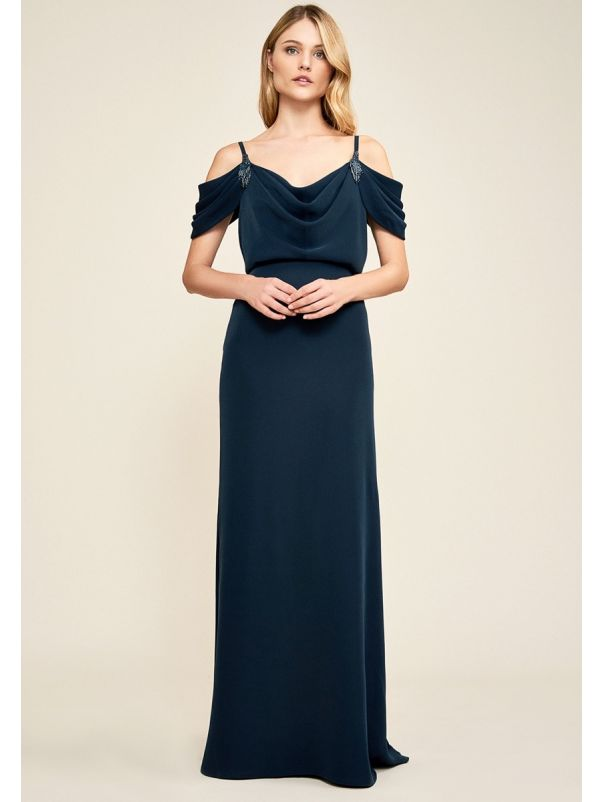 Draped Evening Dress With Straps
